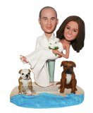 Custom bobbleheads Groom Holding Bride On Sand With Dogs