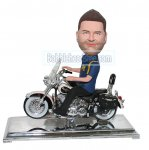 Custom bobbleheads Male Strides On A Stylish Motorcycle