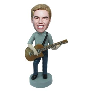 Personalized Music Male With Guitar Bobblehead