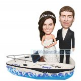 Personalized Bobblehead For Wedding Bride And Groom On A Boat
