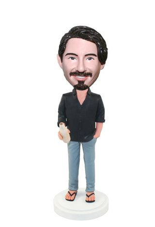 Custom Casual Bobblehead Male In Shirt And Jeans With A Bottle