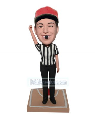 Custom Sport Bobbleheads Referee In White And Black Jersey