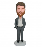 Button Up Suit Male Hands In Pockets Bobblehead Doll