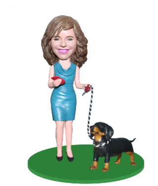 Custom Bobblehead Sexy Woman Walking With A Dog