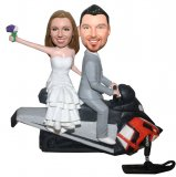 Gray Suit Male And Bride On The Skidoo Custom Bobblehead