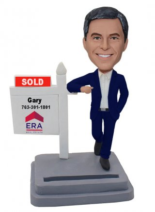 Custom SOLD Bobble Head Business Card Holder Bobblehead