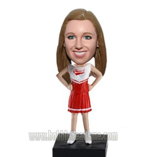 Akimbo Cheerleader In Red And White Uniform Bobblehead