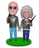 Custom Boblehead Doll Hunting Couple Holding Guns