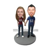 Sport Fan Couple In Blue Jeans Customized Bobblehead