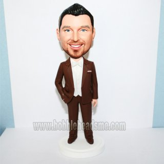 Handsome Groomsmen Brown Suit Bowtie Customized Bobblehead