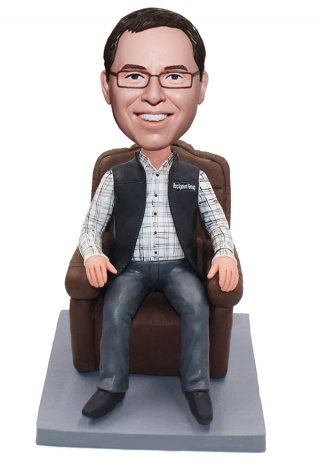 Custom Bobblehead Man On The Couch Doll