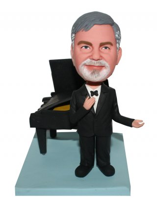 Pesonalized bobblehead doll Singer Performing Next To A Piano