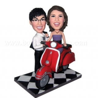 Wizardly Journey Female Riding Motocycle Couple Bobblehead