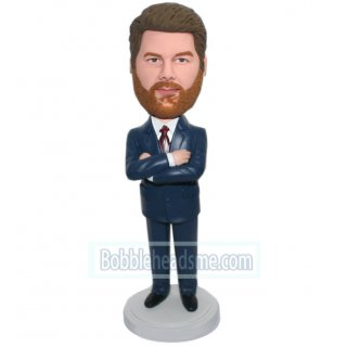 Arms Acrossed Male CEO In Navy Blue Suit Custom Bobblehead Doll