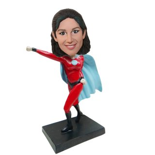 Customized Superhero Female Punching Bobblehead