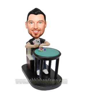 Personalized Poker Player At The Table Bobbleheads