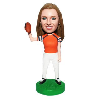 Female Football Plyer With Ball On Hand Custom Bobblehead