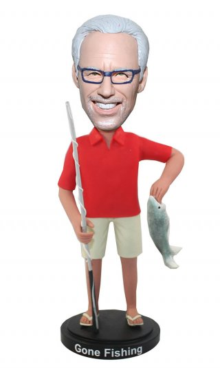 Customized Fisheman Bobblehead Male Holding A Fish And Fishing Rod
