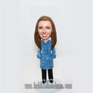 Blue Winter Coat Female Hands In Pocket Bobbleheads