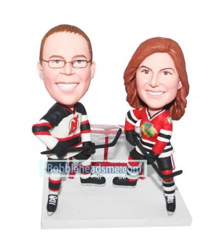 NHL Bobble head Custom Couple Hockey Player With Stick And Goal