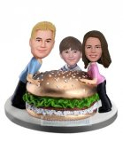Custom Family bobbleheads Happy Lunch Time With Hamburger