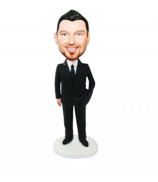 Custom Groomsmen Bobbleheads doll In Black Suit