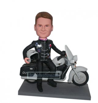 Custom bobbleheads Male Racer In Uniform Laying On A Motocycle