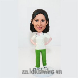 Custom Doctor Female With Stethoscope Bobbleheads