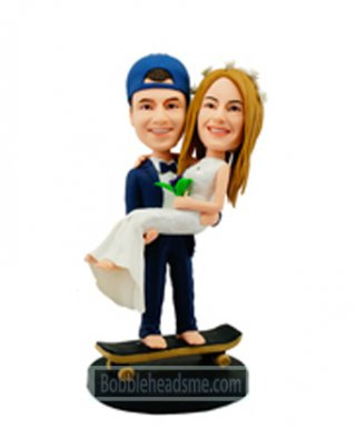 Custom Skateboard Wedding Bobble Heads Cake Toppers