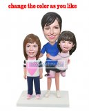 Group/Family bobbleheads Mother With Daughters Three In One Base