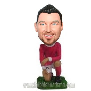 Down On One Knee Football Player Custom Bobbleheads
