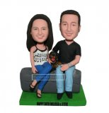 Custom bobbleheads Lovely Couple Seat With A Smile Dog