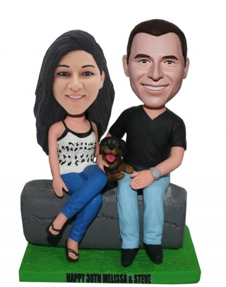 Custom 2 People And Pet Dog Bobbleheads From Photos