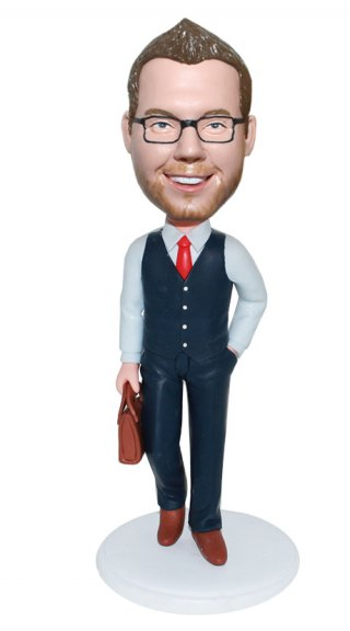 Bobbleheads Businessman Portable Briefcase