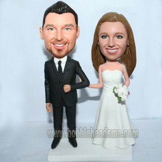 Custom Wedding Couple Arms In Arms With White Bouquet Bobblehead