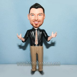 Arms Up Black Shirt Executive Custom Bobbleheads