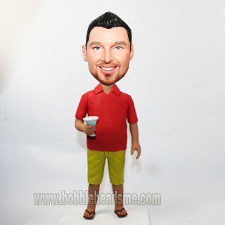 Red Polo Shirt Man With A Martini Custom Bobbleheads