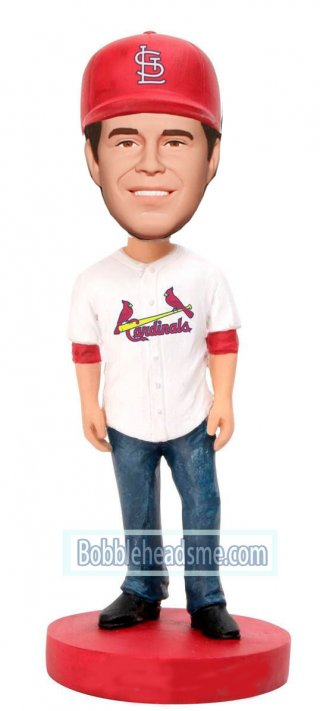Custom Sport Bobbleheads Male In Baseball Jersey And Jeans