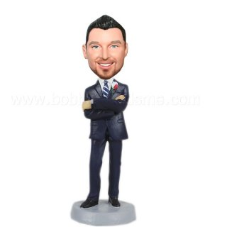 Arms Cross Navy Blue Suit Groomsmen Bobbleheads