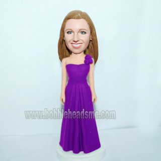 Female in Single Shoulder Evening Gown Custom Bobbleheads