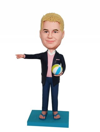 Customized Bobblehead Male in Suit And Flip Flops With A Volleyb