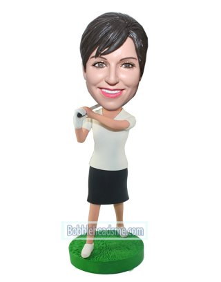 Customized Female Bobblehead Golfer In White And Black Skirt
