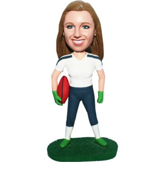 Personalized Clucthing Football At Side Female Bobbleheads