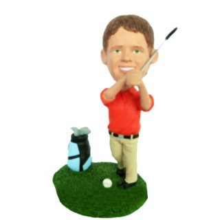 Golf Swing Male With Golf Bag Beside Custom Bobblehead Doll
