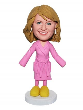 Personalized Bobblehead Doll Female In Pajamas And Wool Slippers