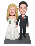 Customized Wedding Bobbleheads In Wedding Dress With A Bouque