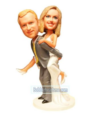 Custom Wedding bobbleheads Bride Jumping On Groom