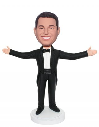 Custom Bobblehead Male In Tuxedo With Arms Open Outside