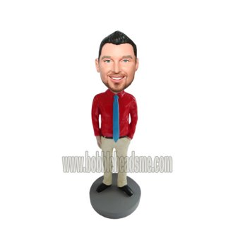 Red Shirt With Blue Tie Custom Businessman Bobblehead