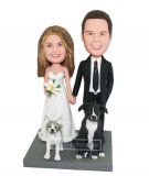 Custom bobbleheads Newlyweds With Cat And Dog Stand Infront
